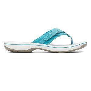 Clarks Women's Breeze Sea Flip Flop Aqua new!